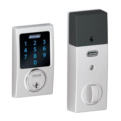Schlage Connect Century Bright Chrome Touchscreen Deadbolt with Alarm