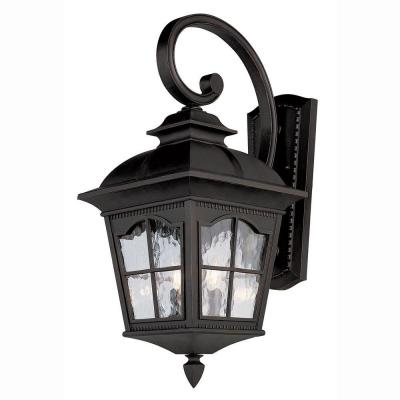 Bel Air Lighting Bostonian 3-Light Outdoor Black Coach Lantern with Water Glass