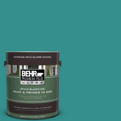 BEHR Premium Plus Ultra Home Decorators Collection 1-gal. #HDC-FL13-12 Taos Turquoise Semi-Gloss Enamel Exterior Paint