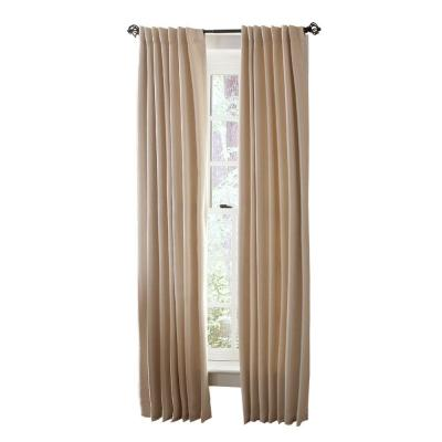 Martha Stewart Living Heavy Cream Faux Silk Room Darkening Back Tab Curtain
