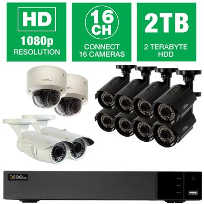 Q-SEE 16-Channel 1080p 2TB Video Surveillance System with (8) Bullet Cameras, (2) Dome Cameras and (2) Auto-Focus Cameras