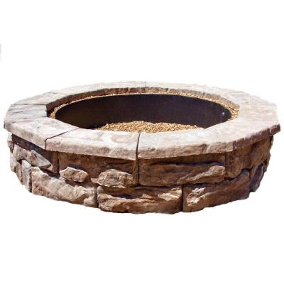 Fossill stone 60 in concrete brown round fire pit kit for How to build a round fire pit