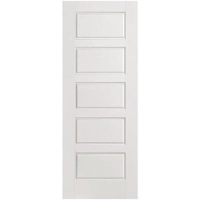 28 in. x 80 in. Riverside Smooth 5-Panel Equal Hollow Core Primed Composite Single Prehung Interior Door Product Photo