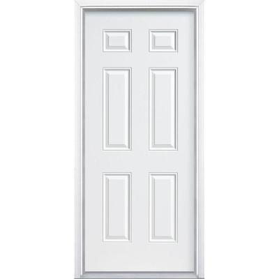 6-Panel Primed Smooth Fiberglass Prehung Front Door with No Brickmold