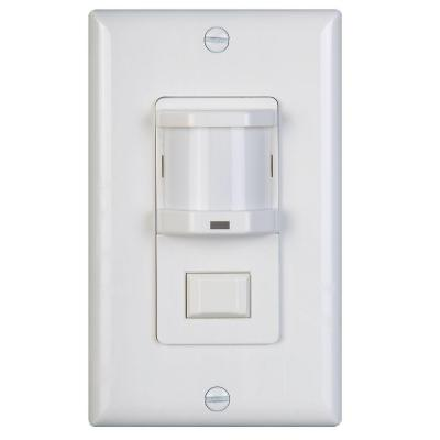 500-Watt Occupancy Motion Sensor with Passive Infrared Switch and Dimmer, White Product Photo