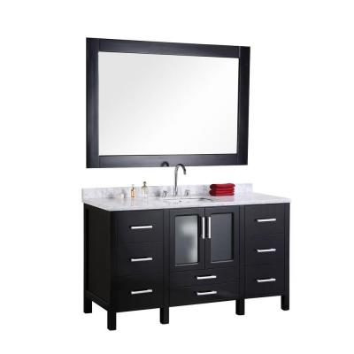 Design Element Stanton 60 in. W x 22 in. D Vanity in Espresso with Marble Vanity Top and Mirror in Crema Marfil