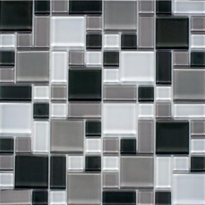 peel and stick gray and white 12 in x 12 in x 6 mm glass mosaic wall