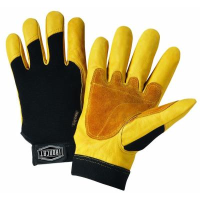 X-Large Grain Cowhide Gloves with Spandex Back, Split Reinforced Palm and