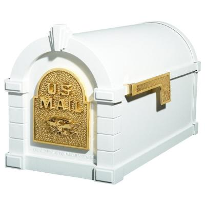 Keystone Series Aluminum Post-Mount Mailbox White with Polished Brass Product Photo
