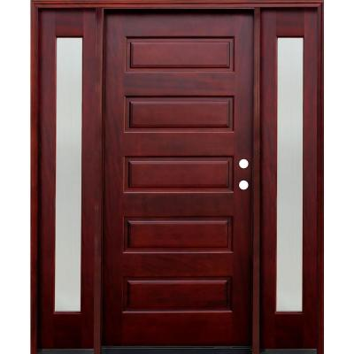 Contemporary 5-Panel Stained Mahogany Wood Prehung Front Door with 12 in. Reed Sidelites