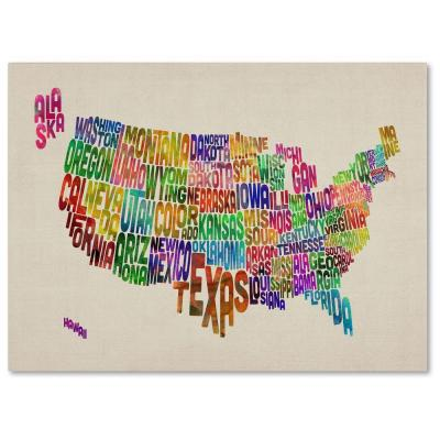Trademark Fine Art 16 in. x 24 in. USA States Text Map Canvas Art