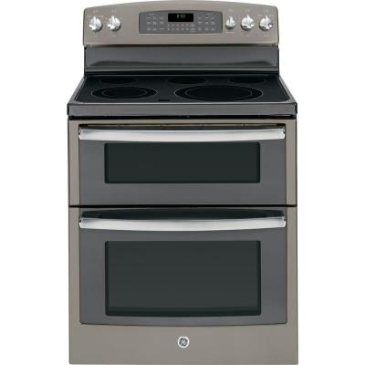 GE 6.6 cu. ft. Double Oven Electric Range with Self-Cleaning Oven in Slate