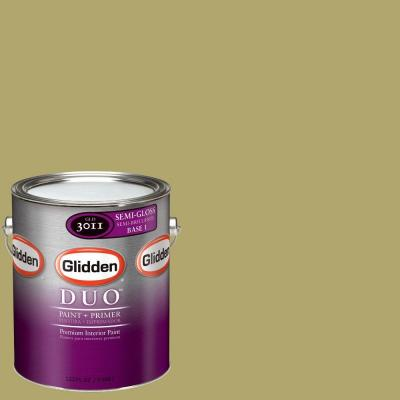 1-gal. #GLG27 Spanish Olive Semi-Gloss Interior Paint with Primer