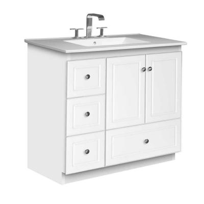 Simplicity by Strasser Ultraline 37 in. W x 22 in. D x 35 in. H Vanity with Left Drawers in Satin White with Ceramic Vanity Top in White