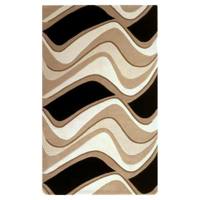 Abstract Waves Black/Beige 8 ft. x 10 ft. 6 in. Area