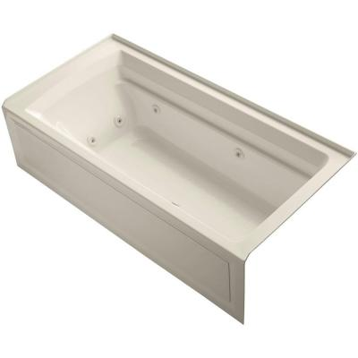 Archer 6 ft. Acrylic Right Drain Rectangular Alcove Whirlpool Bathtub in Almond Product Photo