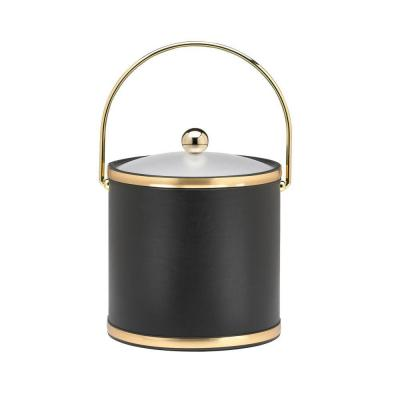 Kraftware Sophisticates Black with Brushed Gold 3 Qt. Ice Bucket with Acrylic Cover