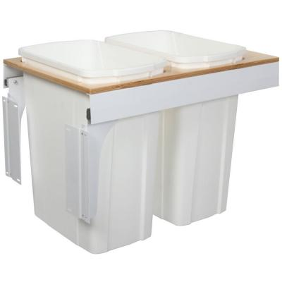 Knape & Vogt 17.5 in. x 15 in. x 23.19 in. In Cabinet Pull Out Top Mount Soft Close Trash Can-DISCONTINUED