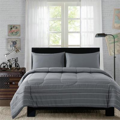 Bryce Grey Pinstripe Mini Bed-In-Bag Set