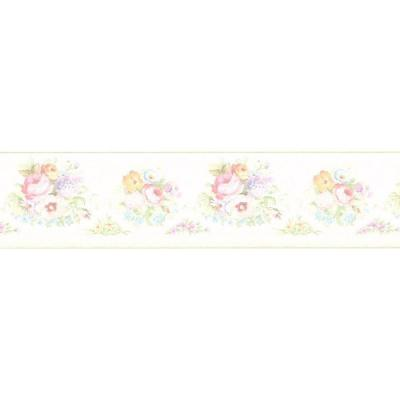 6.56 sq. ft. Vicky White Victorian Floral Border Wallpaper