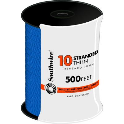 Southwire 500 ft. 10 Blue Stranded THHN Wire -