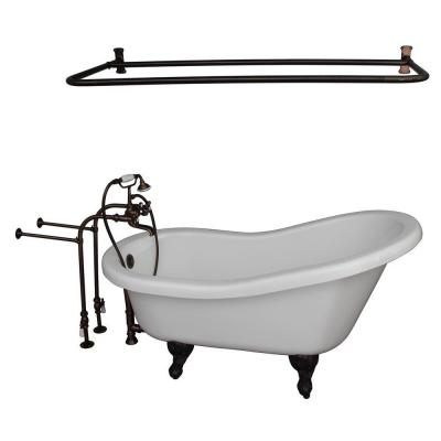 Barclay Products 5.6 ft. Acrylic Ball and Claw Feet Slipper Tub in White with Oil Rubbed Bronze Accessories