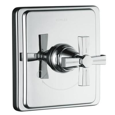 Pinstripe 1-Handle Thermostatic Valve Trim Kit with Cross Handle in Polished Chrome (Valve Not Included) Product Photo