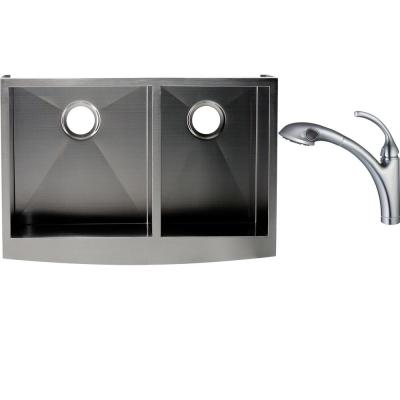 Hardy All-in-One Undermount Stainless Steel 33 in. Double Basin Apron Sink with Faucet