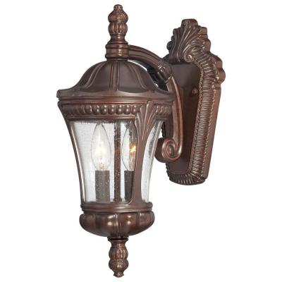 the great outdoors by Minka Lavery Kent Place 2-Light Architectural Bronze Outdoor Wall Mount Lantern