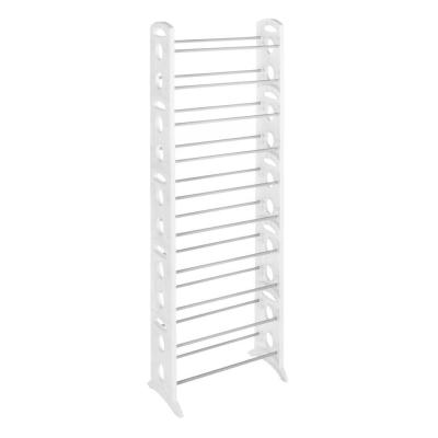 Whitmor Shoe Rack Collection 22.5 in. x 62.25 in. 30-Pair Resin Floor Shoe Tower in White