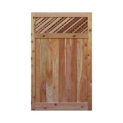 3.5 ft. H W x 6 ft. H H Western Red Cedar Flat Top Supreme Lattice Fence Gate Product Photo