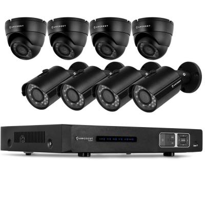 1080P Tribrid HDCVI 8CH 3TB DVR Security System with 4 x 2.1MP Bullet Cameras and 4 x 2.1MP Dome Cameras - Black Product Photo