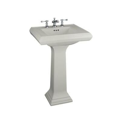 Memoirs Ceramic Pedestal Combo Bathroom Sink in Ice Grey with Overflow