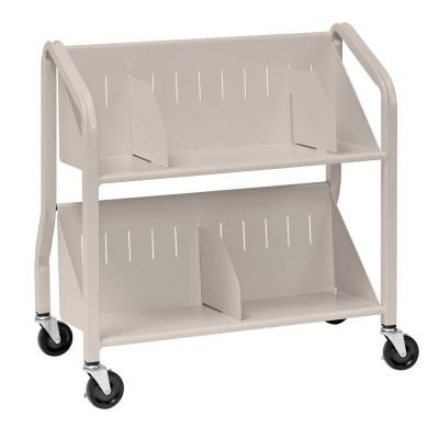 Buddy Products Sloped Silver 2-Shelf Book Cart with Dividers