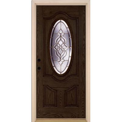 37.5 in. x 81.625 in. Lakewood Brass 3/4 Oval Lite Stained