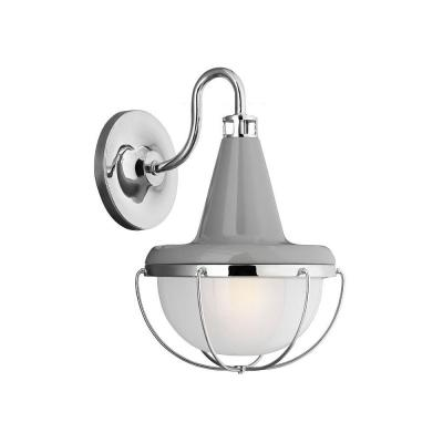 Feiss Livingston Collection 1-Light High Gloss Grey/Polished Nickel Outdoor Wall Lantern