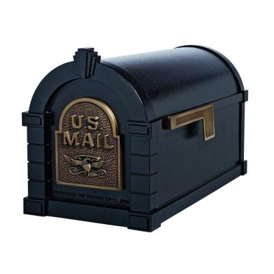 Keystone Series Aluminum Post-Mount Mailbox Black with Antique Bronze Product Photo