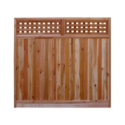 6 ft. H x 6 ft. W Western Red Cedar Checker Lattice Top Fence Panel Kit Product Photo