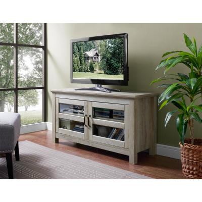 Walker Edison Furniture Company 44 in. Wood TV Media Stand Storage Console - White Oak