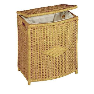 Home Decorators Collection Wicker 22 in. Height x 18 in. Width Honey Rectangular Diamond Weave Hamper-DISCONTINUED