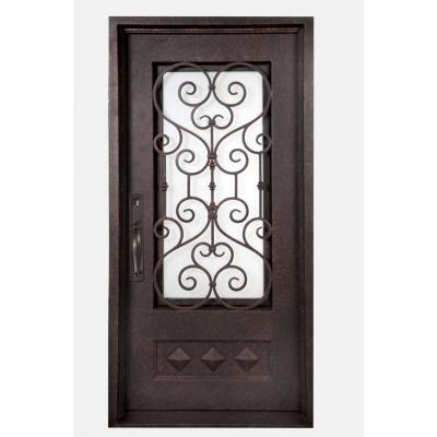 Iron doors unlimited 40 in x 82 in vita francese classic 3 4 lite painted antique copper - Iron security doors home depot ...
