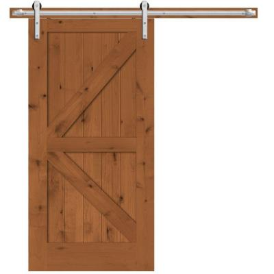 Steves sons 42 in x 84 in rustic 2 panel stained knotty alder interior barn door slab with - Barn door track hardware home depot ...
