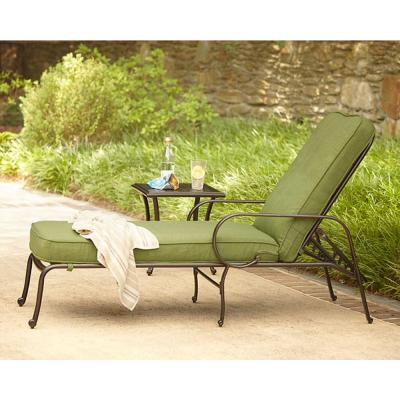 Hampton Bay Fall River Adjustable Patio Chaise Lounge with Moss Cushion