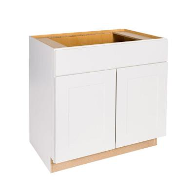 Hampton Bay Princeton Shaker Assembled 36x34.5x24 in. Sink Base Cabinet in Warm White
