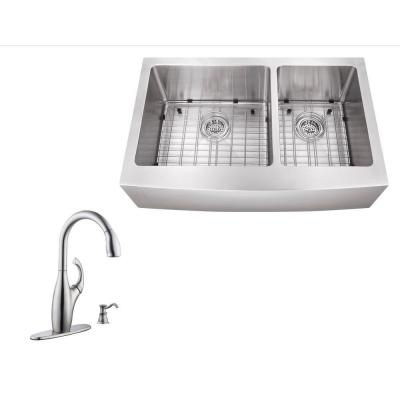 Schon All-in-One Farmhouse Apron Front Stainless Steel 31 in. Double Basin Kitchen Sink with Faucet