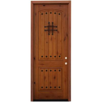 36 in. x 96 in. Rustic 2-Panel Stained Knotty Alder Wood