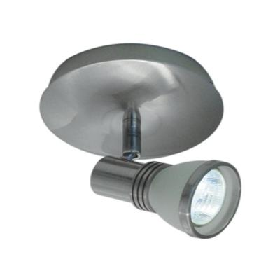 1-Light Accent Brushed Chrome Halogen Ceiling Fixture with One White Frosted