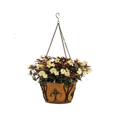 Deer Park 16 in. Planter Metal Hanging Basket Finial with Coco Liner-DISCONTINUED