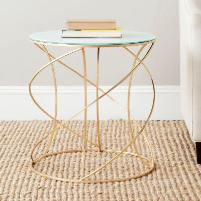 Safavieh Cagney Gold and White Glass Top End Table