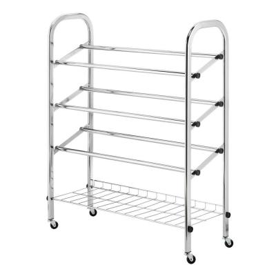 Whitmor Deluxe Rack Collection 24.75 in. x 31.13 in. Rolling Shoe Rack in Chrome